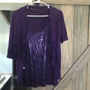 Express Purple Sequin Cardigan and Blazer Set